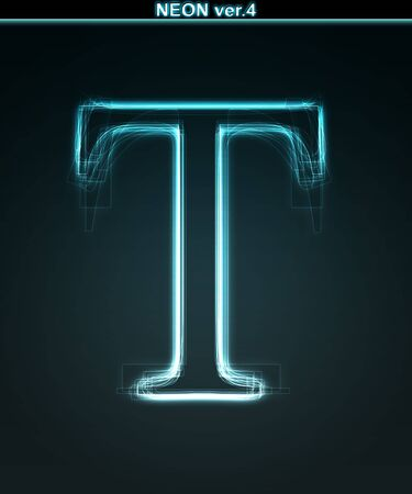 alphanumeric: Glowing neon font. Shiny letter T on black background.