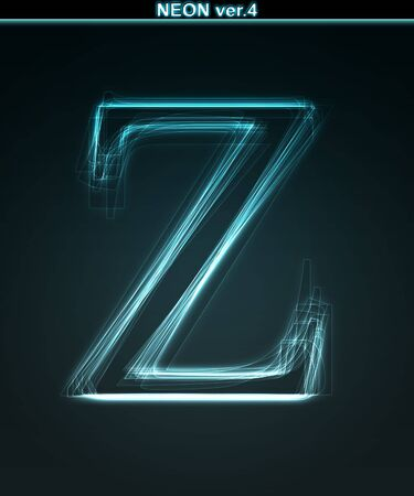 Glowing neon font. Shiny letter Z on black background. photo