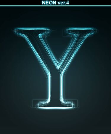 Glowing neon font. Shiny letter Y on black background. photo