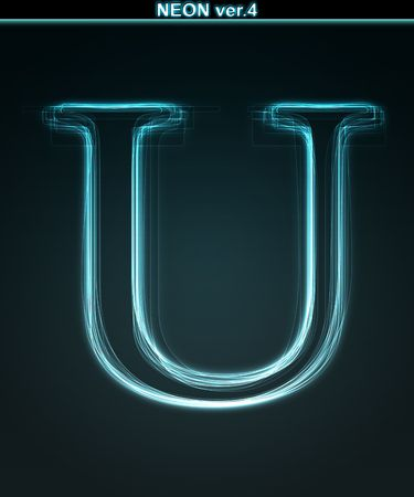 Glowing neon font. Shiny letter U on black background. photo