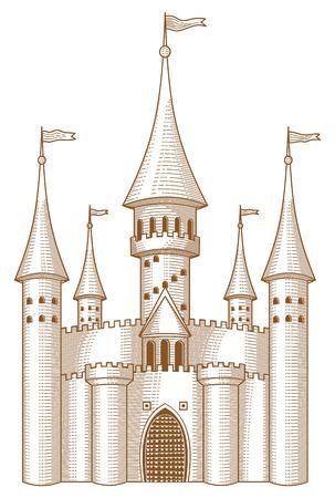 castello fiabesco: Sketch del castello da fiaba su sfondo bianco.  Vettoriali