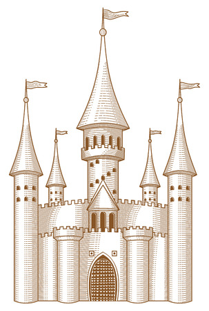 fable: Sketch of fairy-tale castle on white background.