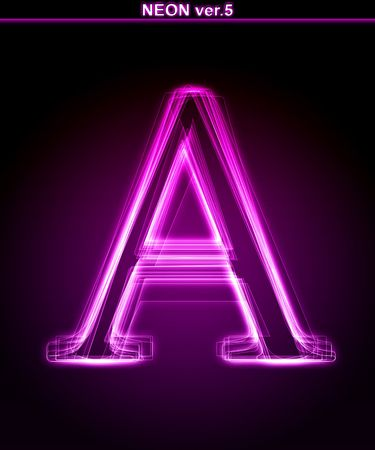 Glowing neon letter on black background. Letter A. (Full font in portfolio. Search by