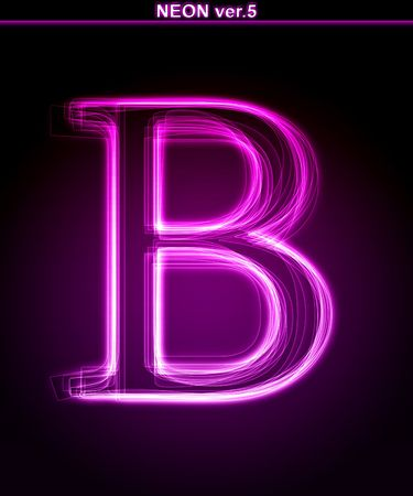 decorative letter: Glowing neon letter with floral decoration on black background.