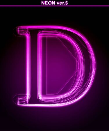 neon glow alphabet: Glowing neon letter on black background. Letter D. (Full font in portfolio. Search by  Stock Photo