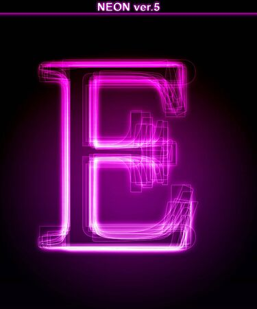 Glowing neon letter on black background. Letter E. (Full font in portfolio. Search by  photo
