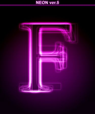 Glowing neon letter on black background. Letter F. (Full font in portfolio. Search by  photo