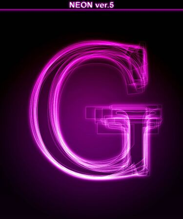 Glowing neon letter on black background. Letter G. (Full font in portfolio. Search by  photo