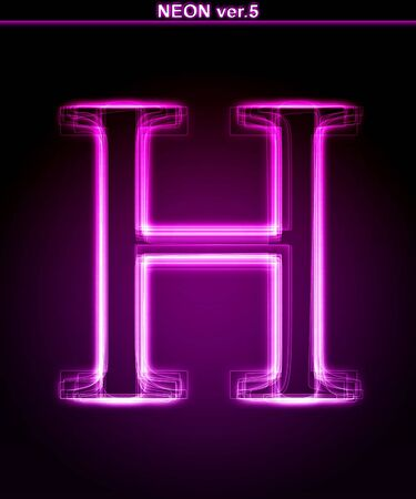 alphanumeric: Glowing neon letter on black background. Letter H. (Full font in portfolio. Search by