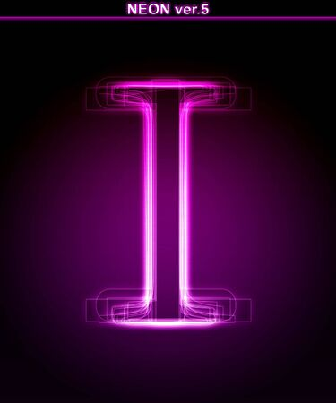 Glowing neon letter on black background. Letter I. (Full font in portfolio. Search by  photo
