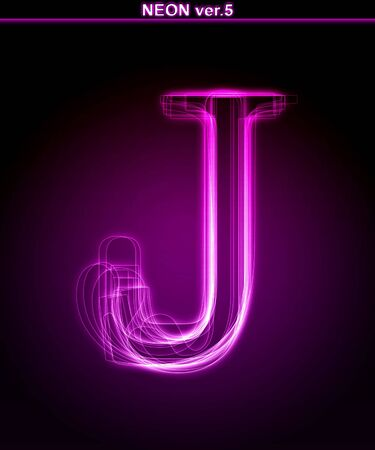 Glowing neon letter on black background. Letter J. (Full font in portfolio. Search by  photo