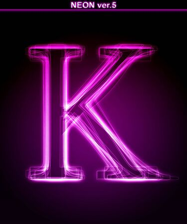 neon letter: Glowing neon letter on black background. Letter K. (Full font in portfolio. Search by