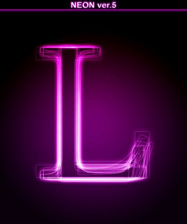 Glowing neon letter on black background. Letter L. (Full font in portfolio. Search by  photo