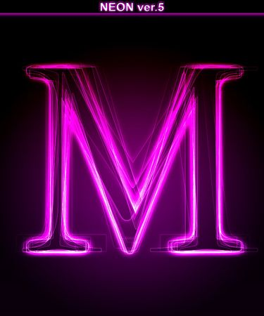 letter m: Glowing neon letter on black background. Letter M. (Full font in portfolio. Search by