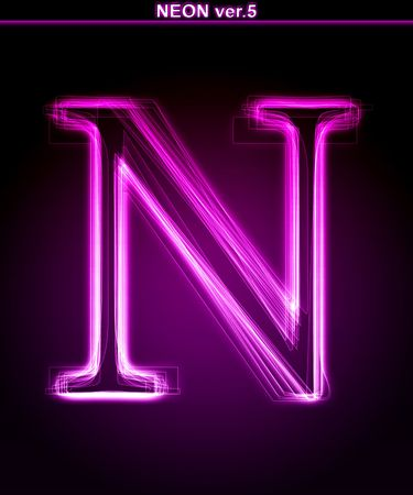 neon glow alphabet: Glowing neon letter on black background. Letter N. (Full font in portfolio. Search by