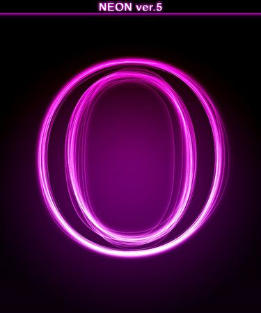 alphanumeric: Glowing neon letter on black background. Letter O. (Full font in portfolio. Search by