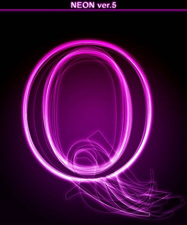 shin: Glowing neon letter on black background. Letter Q. (Full font in portfolio. Search by  Stock Photo