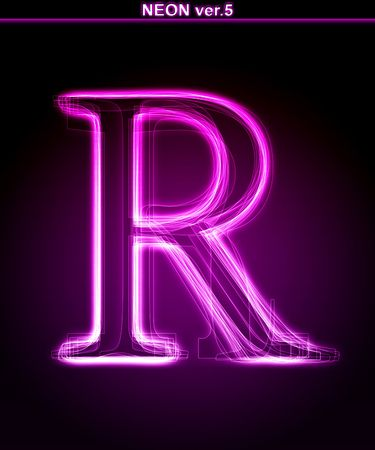 neon sign: Glowing neon letter on black background. Letter R. (Full font in portfolio. Search by