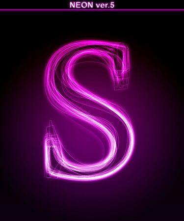 Glowing neon letter on black background. Letter S. (Full font in portfolio. Search by  photo