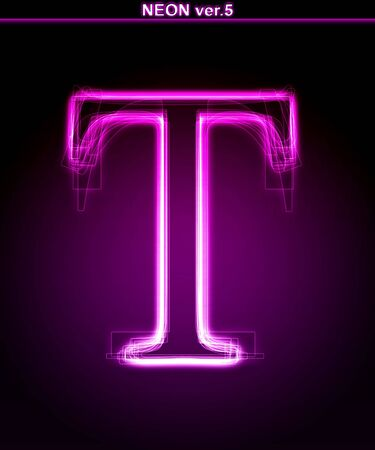 Glowing neon letter on black background. Letter T. (Full font in portfolio. Search by  photo