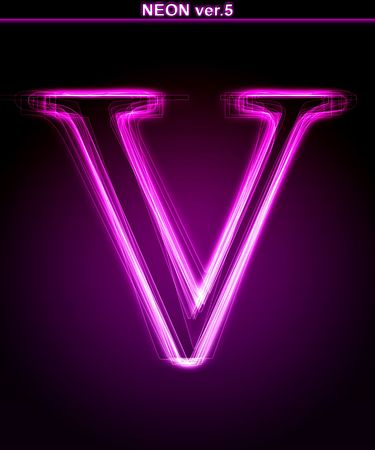 Glowing neon letter on black background. Letter V. (Full font in portfolio. Search by  photo