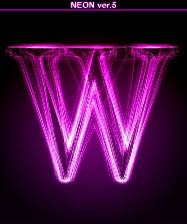 magenta: Glowing neon letter on black background. Letter W. (Full font in portfolio. Search by
