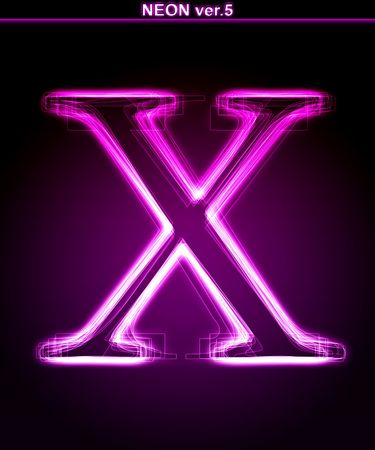 Glowing neon letter on black background. Letter X. (Full font in portfolio. Search by  photo