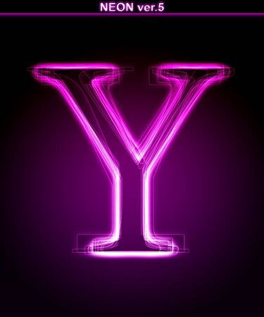 Glowing neon letter on black background. Letter Y. (Full font in portfolio. Search by  photo