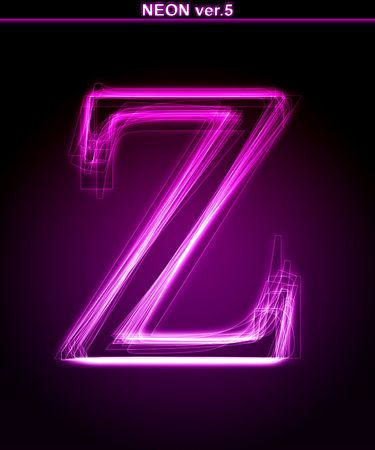 Glowing neon letter on black background. Letter Z. (Full font in portfolio. Search by  photo