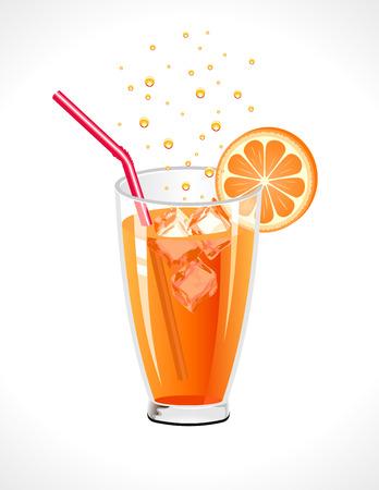 frozen glass: Orange drink on a white background.illustration. Illustration