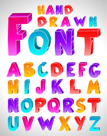 3d alphabet letter abc: Hand drawn font. Letters. (Numbers see in portfolio) Illustration