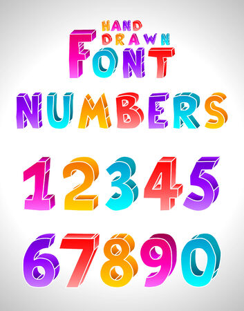 Hand drawn font. Numbers. (Letters see in portfolio) Vector