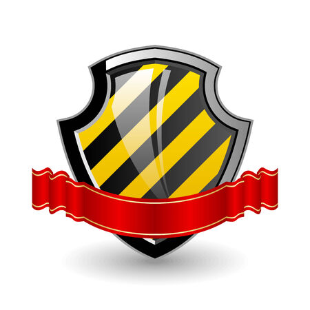 Shield. Color 3D illustration with red  ribbon. Vector