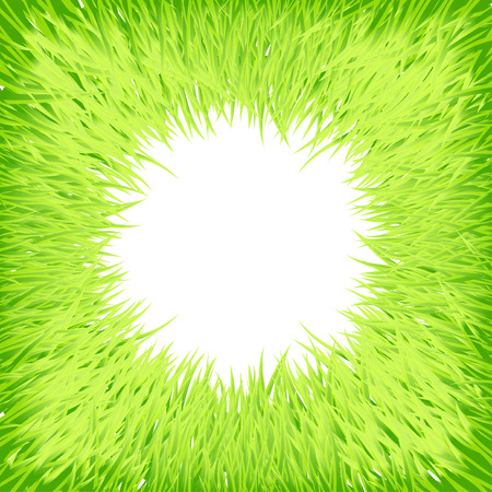 verdure: Round green grass background with place for your text. Illustration