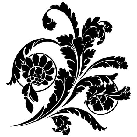 corner ornament: Swirls and flowers. Elegance vector illustration in black.