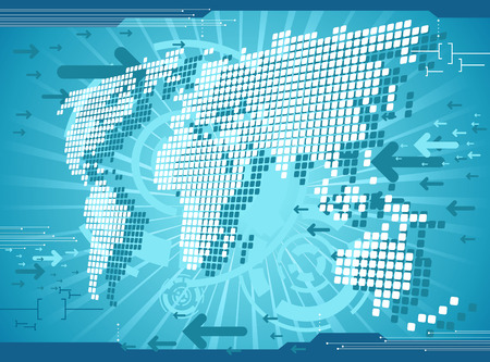 World map background. Digital vector templete. Stock Vector - 7845963