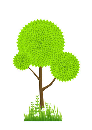 Abstract green tree. Clorful vector illustration with flowers. Vector