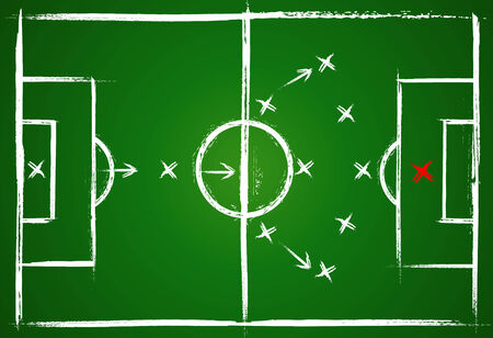 soccer fields: Football positions. Teamwork strategy. Illustration game. Vector  background.