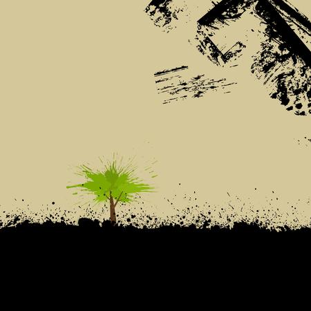 blab: Illustrazione astratta. Grunge background con albero splash.  Vettoriali