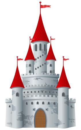 Castillo de cuento de hadas sobre fondo blanco.