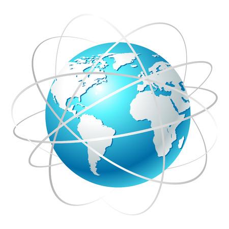 通信: 軌道の地球。白のきれいなベクトル図。  イラスト・ベクター素材
