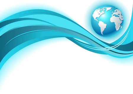 world ball: Business world map wave background. In blue color.