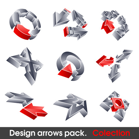 Vector arrows. Design elements. 3D symbol for your artwork. Stock Vector - 7910440