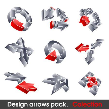 3 point perspective: Vector arrows. Design elements. 3D symbol for your artwork.