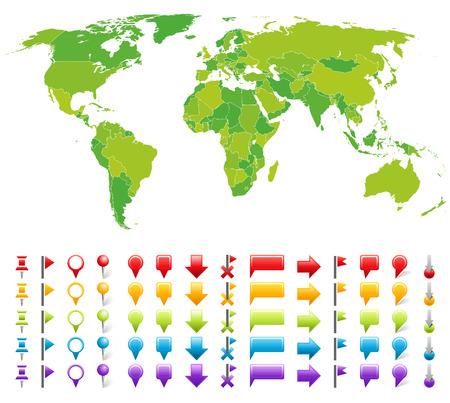 carte europe: Carte avec des marques.  ensemble de symbole simple.