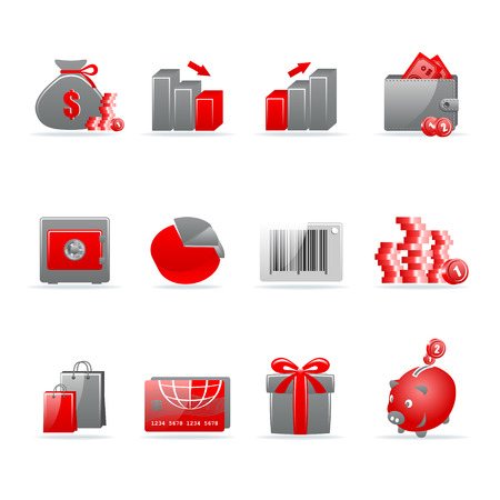 Set of 12 glossy web icons. Shopping, business and money icon set. Part 4. (see other in my portfolio). Vector