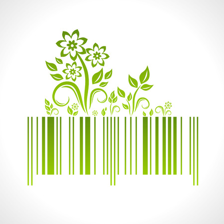 Eco concept. illustration of bar code with decoration.