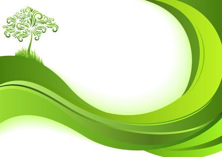 kassen: Natuur achtergrond. Eco-concept. Abstracte groene illustratie met copyspace. Stock Illustratie