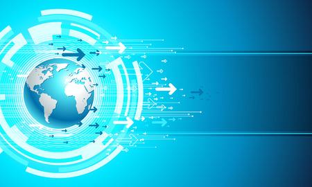 global networking: Mapa de negocio de sitio. Plantilla digital en color azul.