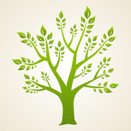 vida natural: Árbol verde. Ilustración de concepto para su diseño.